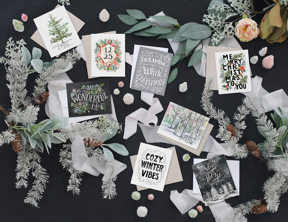 8 unique hand lettered holiday cards are available as an assorted boxed set!