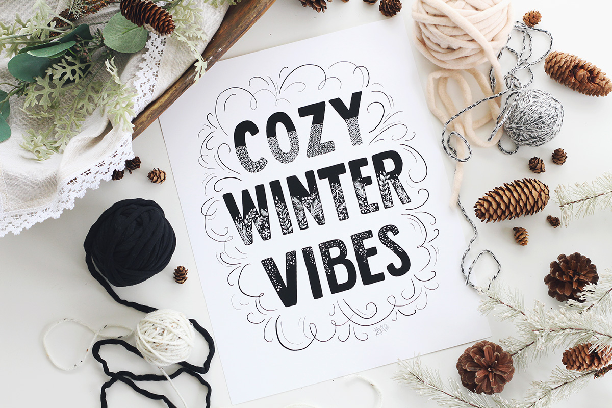Modern trendy Christmas Art | Cozy Winter Vibes | Hand lettered winter art | Black and white Christmas decor
