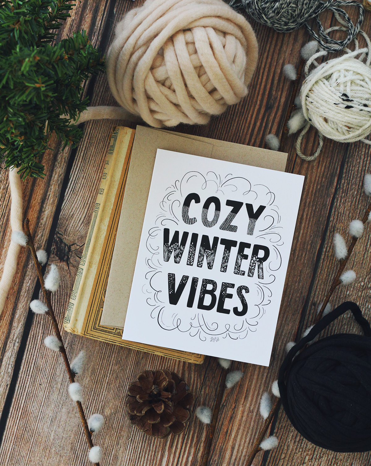 Cozy Winter Vibes is the perfect neutral black and white card to send a modern holiday greeting