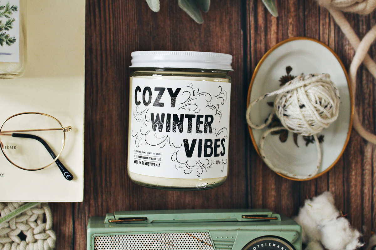 Cozy Winter vibes Unique holiday soy candles with labels hand-drawn by Lily & Val and hand-poured by Candelles