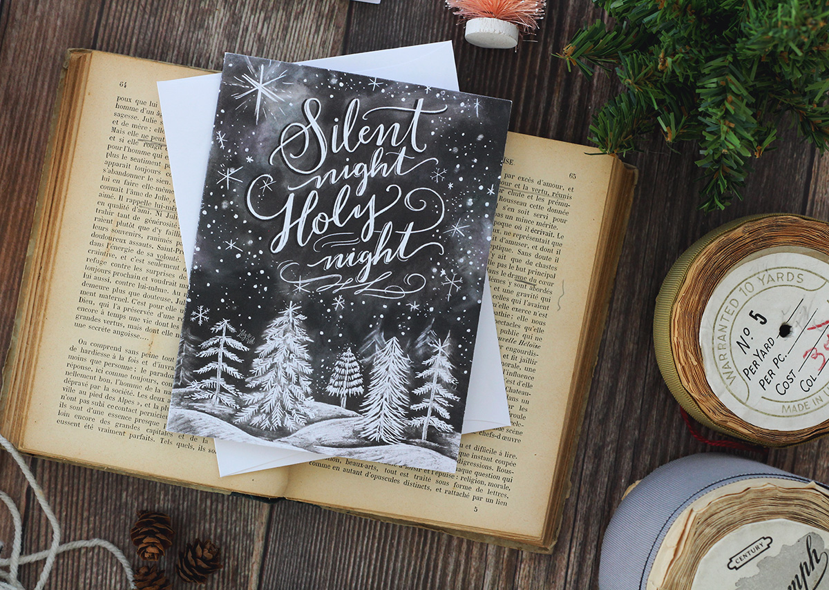 Silent Night holy night chalk art hand lettered Christmas Card | Unique holiday card