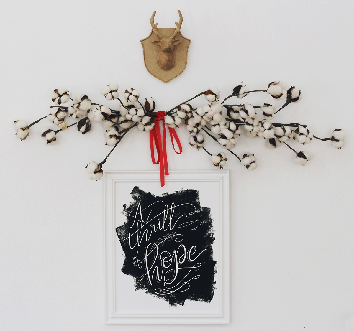 A thrill of hope Christmas print | Oh Holy Night Art | Hand lettered christmas art | Religious Christmas Art | Black and white holiday decor