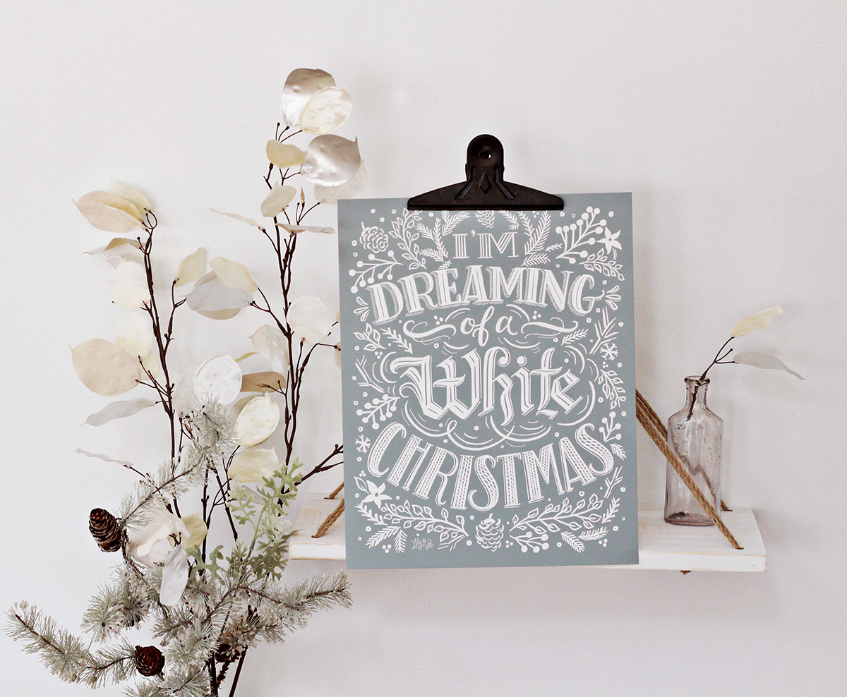I'm dreaming of a White Christmas Print | White Christmas Art | Hand Lettered Holiday Art | Neutral Holiday Decor