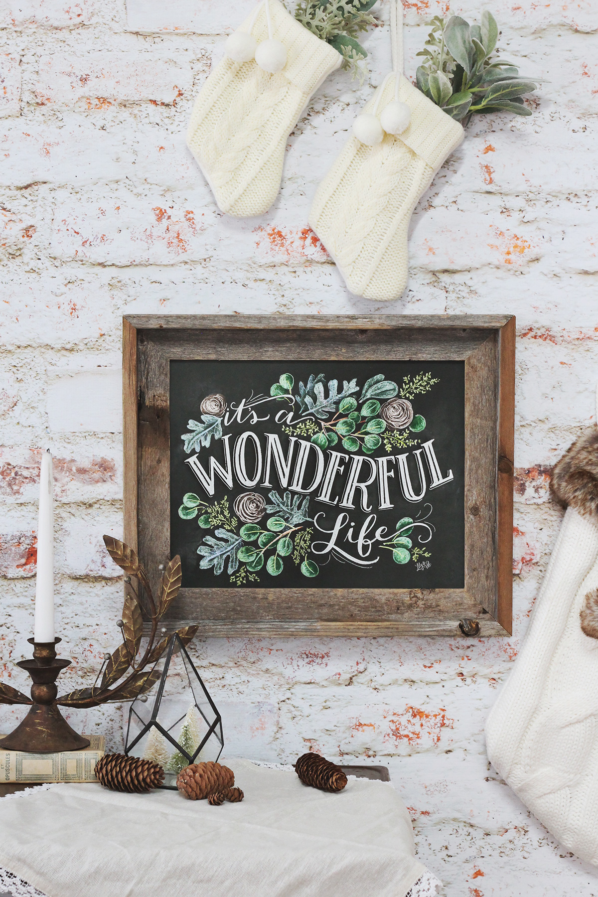 It's a wonderful life chalk art print | Christmas movie quote art | hand lettered chalk art | Chalkboard art