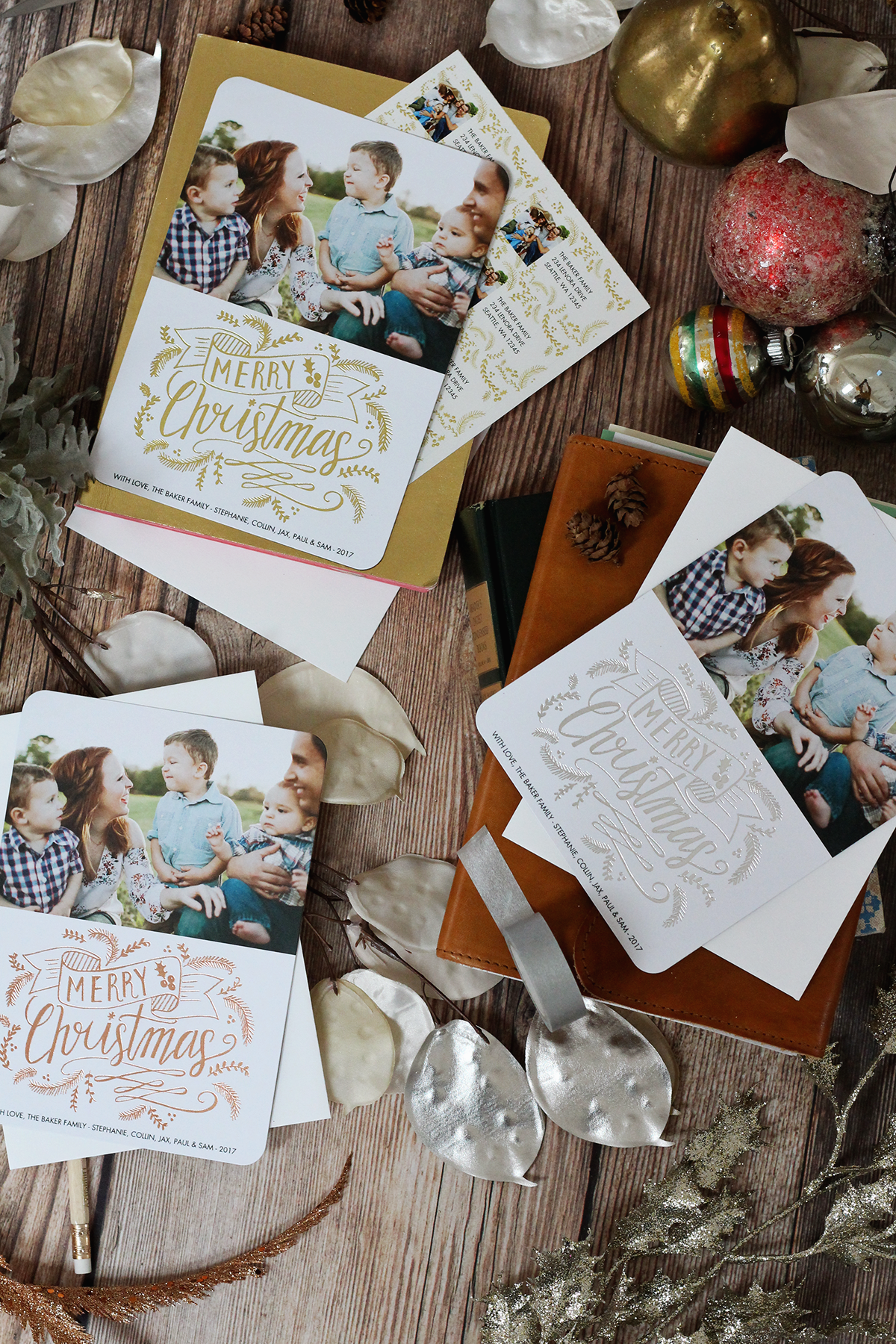 Lily & Val for Mixbook holiday photo cards and matching address labels are here! Choose one of the hand drawn and illustrated designs and customize your Christmas cards!