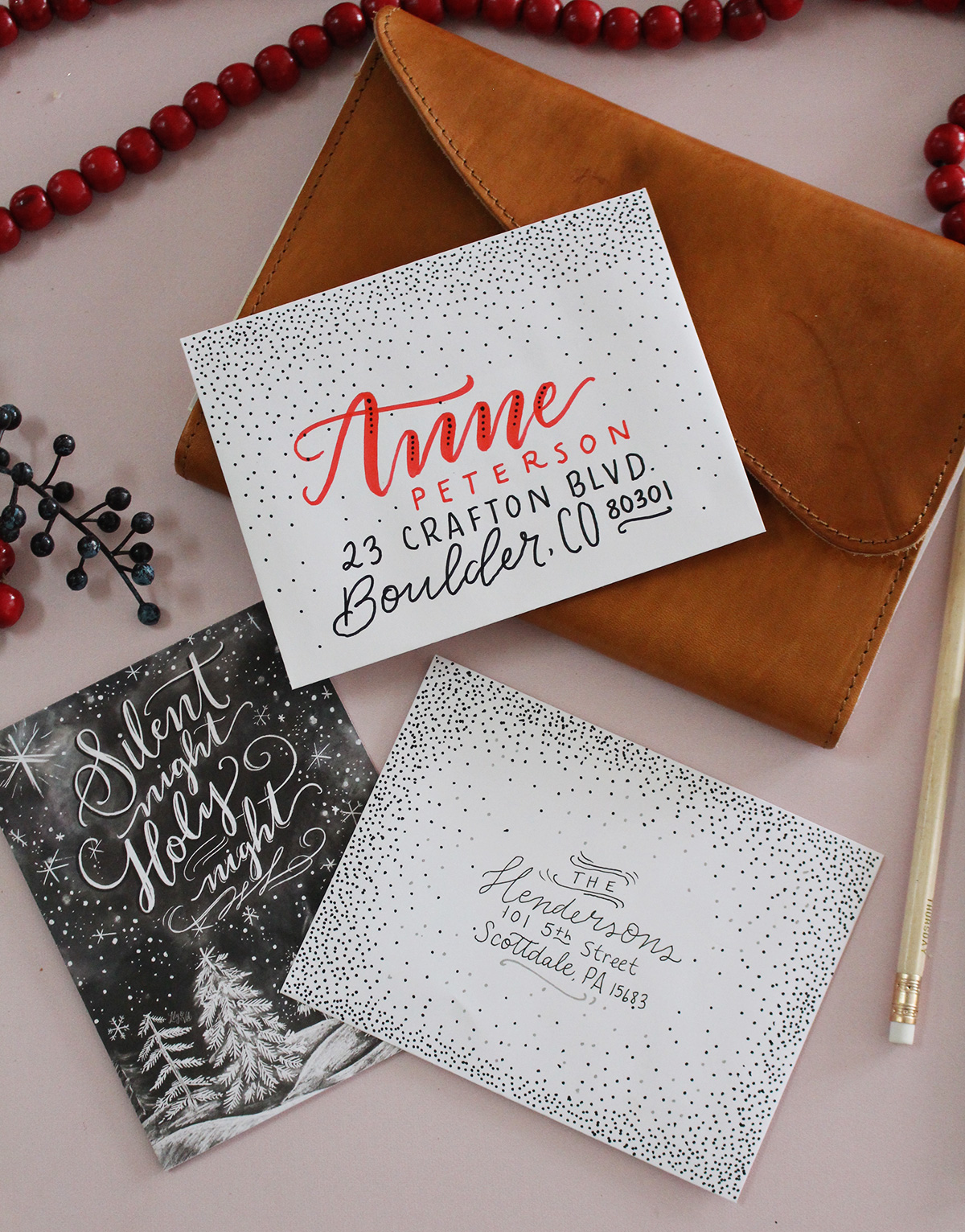 5 Holiday Card Envelope Decorating Ideas - Lily & Val Living