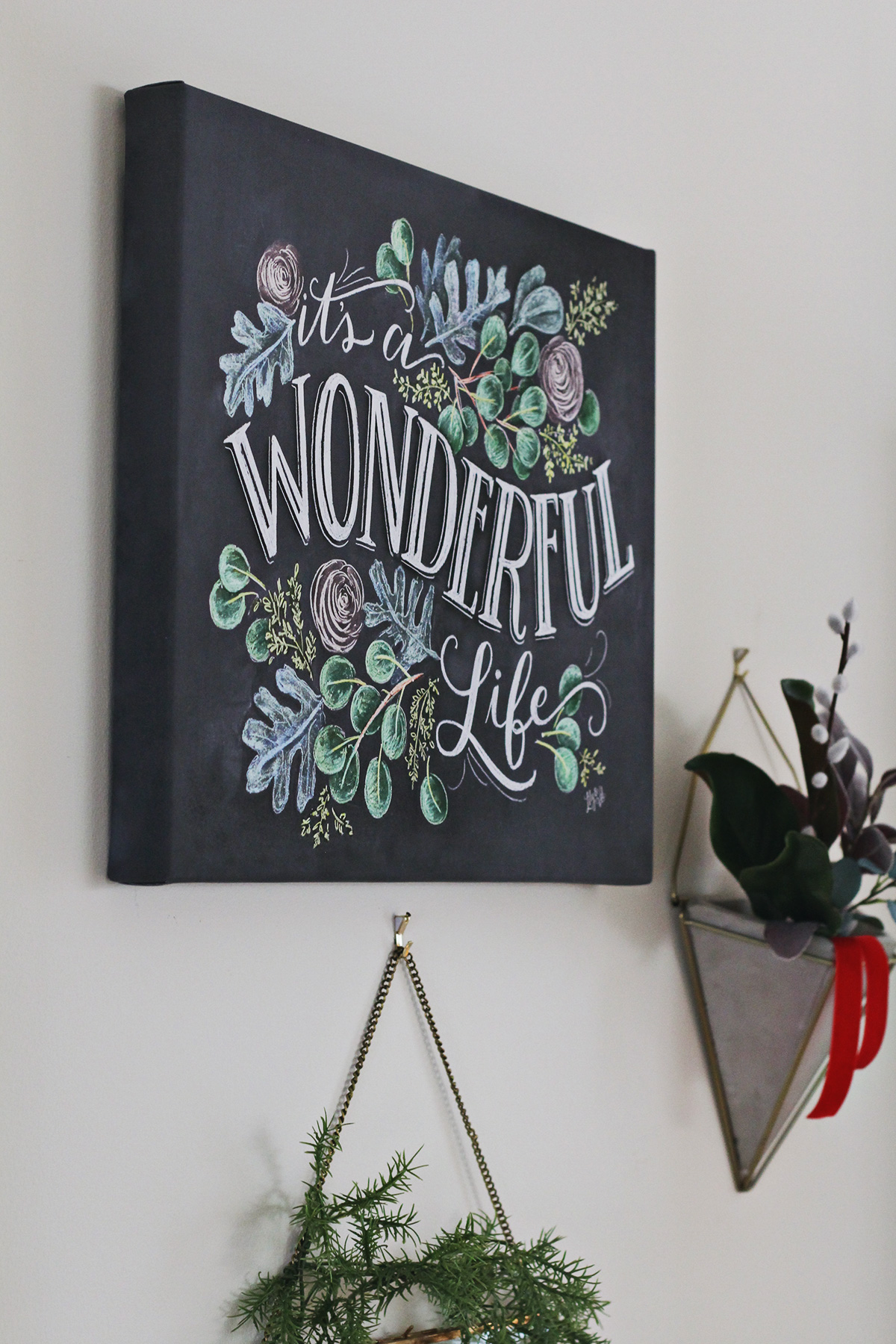It's a Wonderful Life Chalk Art Canvas | Christmas Decoration | Christmas Art