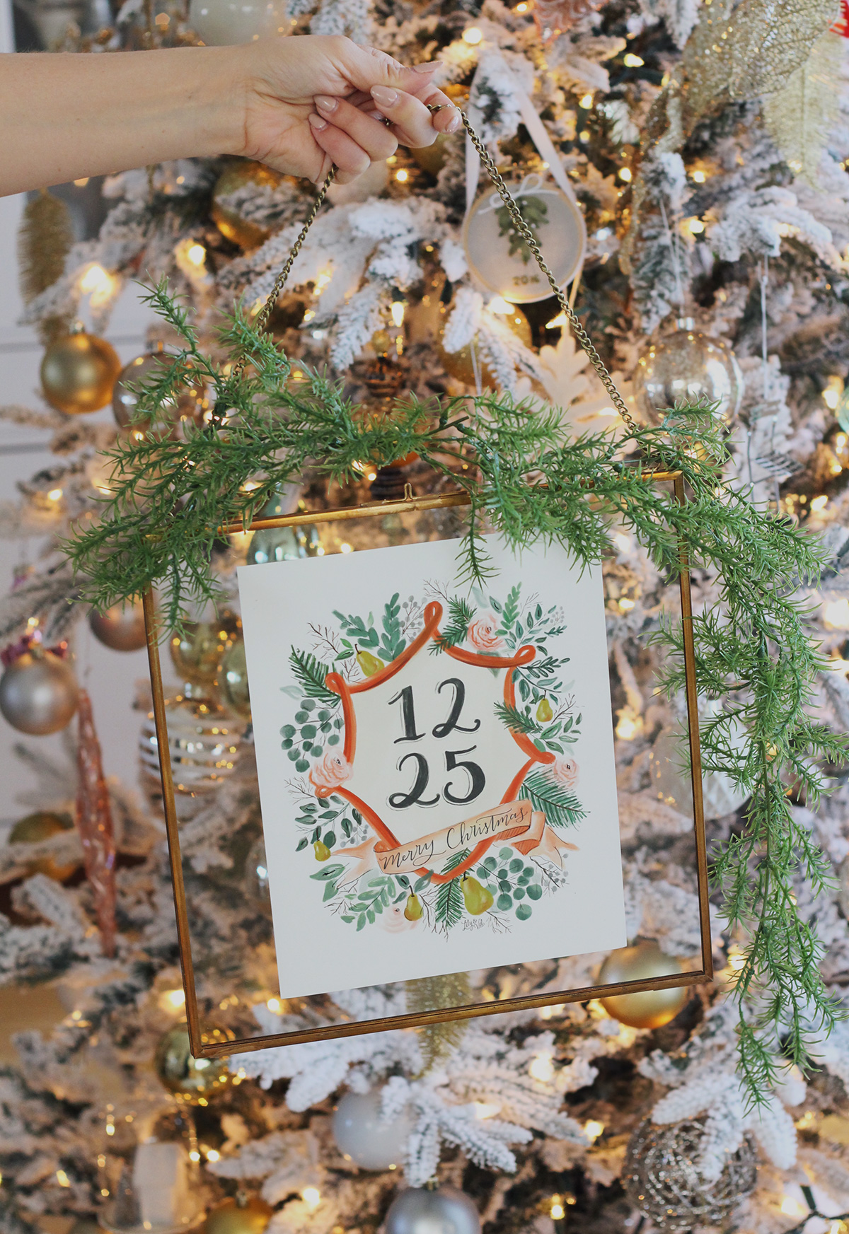 How to use a Hearth & Hand™ brass frame from Target to make this Holiday Wall Hanging