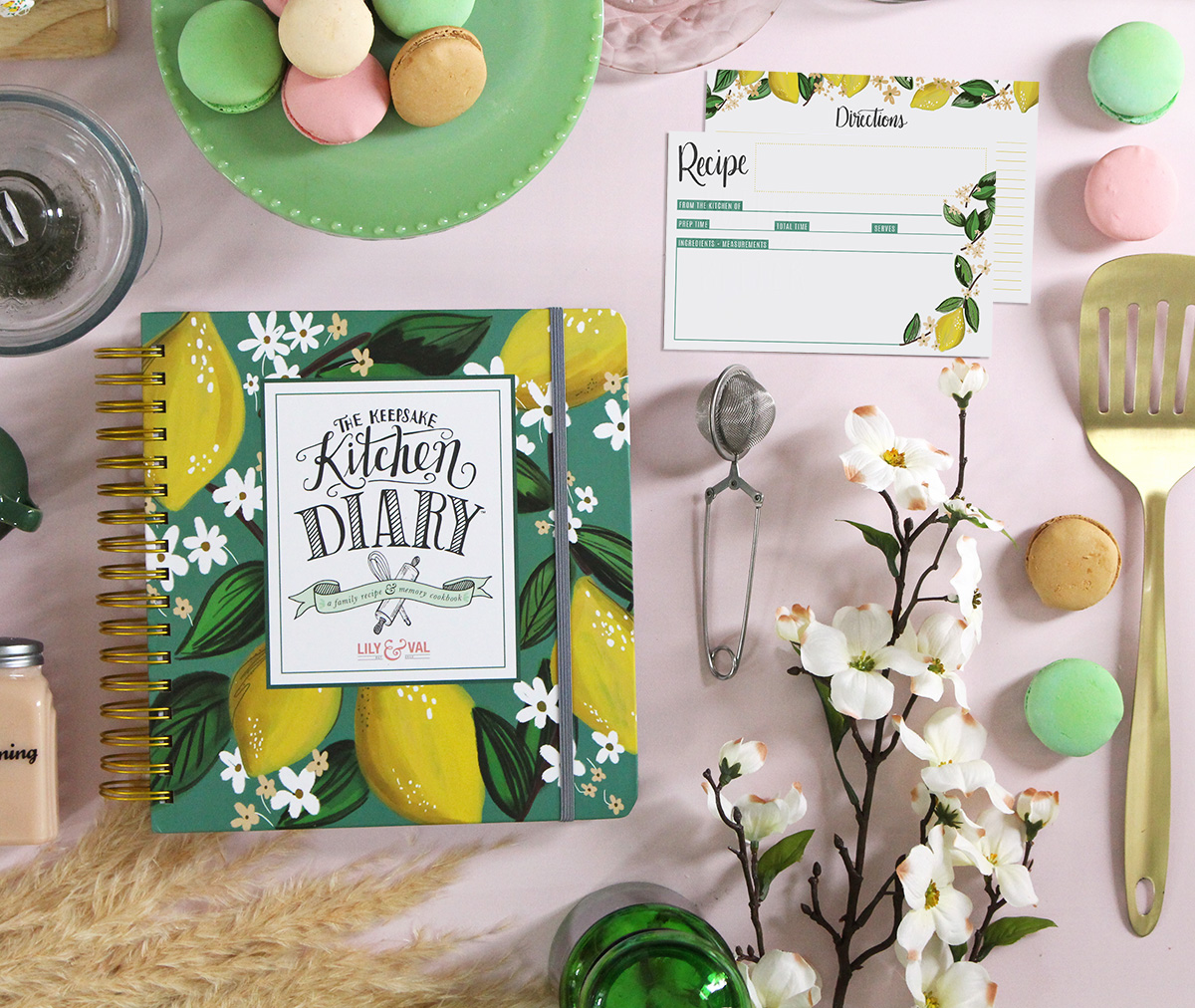 The whimsical lemons Keepsake Kitchen Diary pairs beautifully with the loose lemon recipe cards