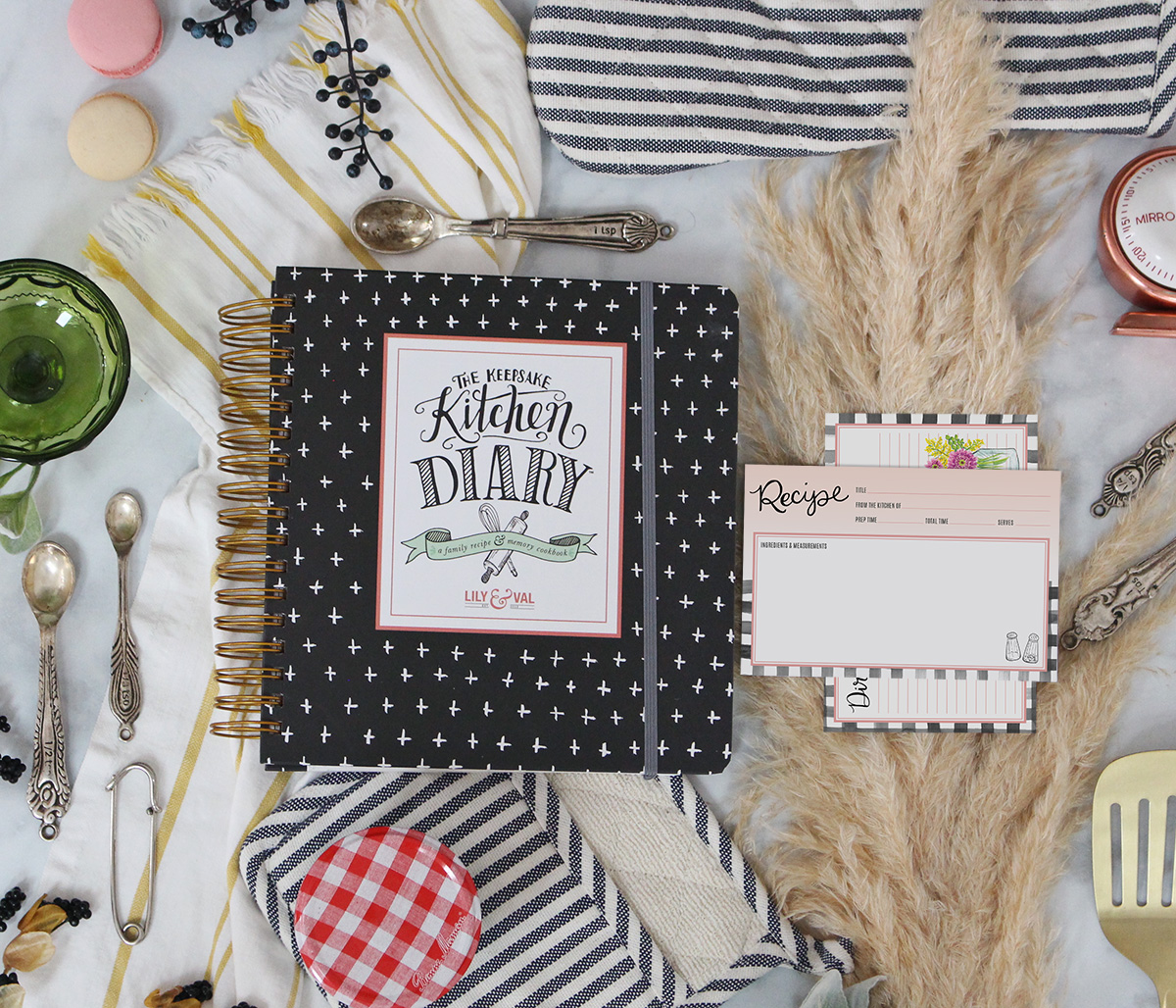 The best-selling Keepsake Kitchen Diary pairs beautifully with these farmhouse gingham recipe cards