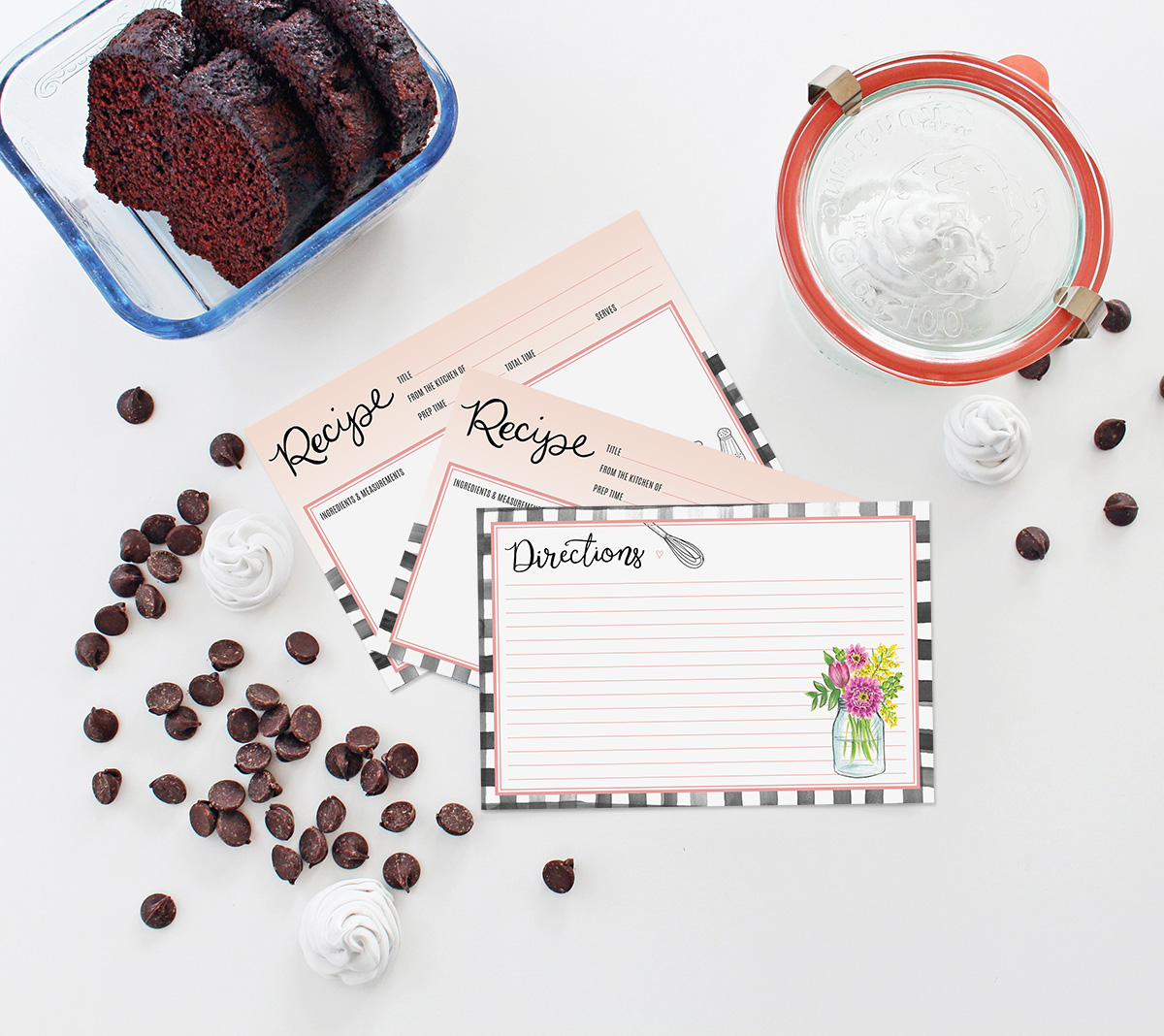 New farmhouse gingham recipe cards by Lily & Val are the perfect addition to your recipe card box