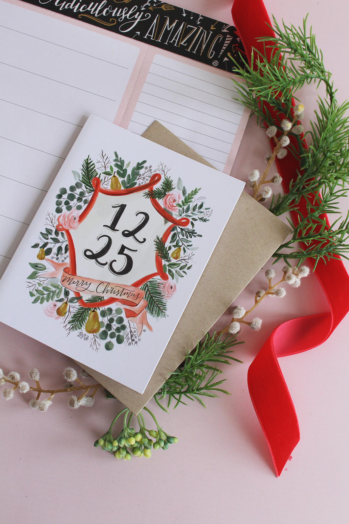 12.25 Christmas note card by Lily & Val
