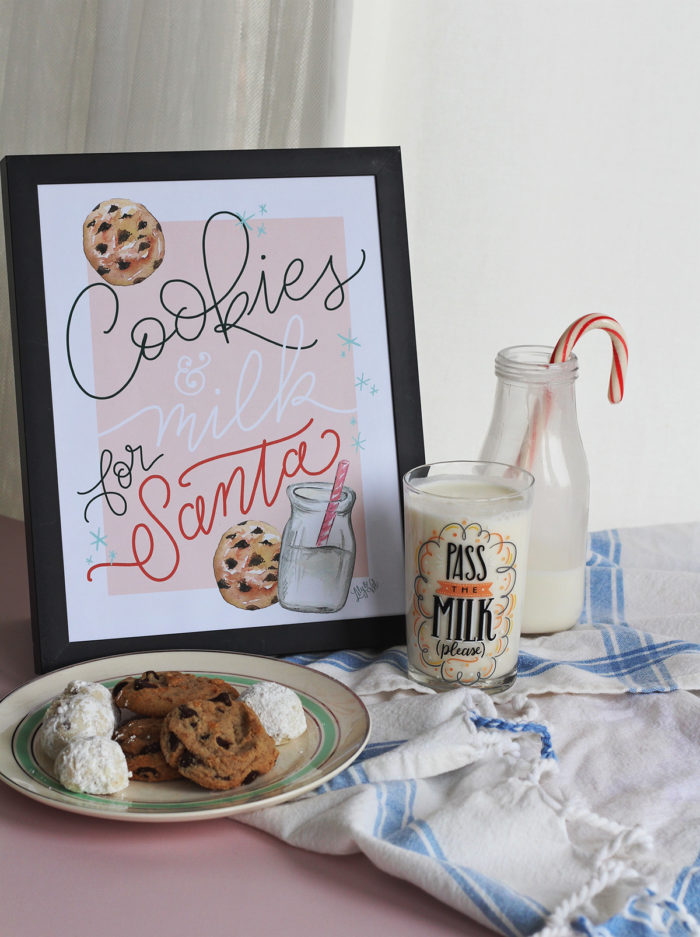 Cookies & Milk for Santa Digital Download Sign