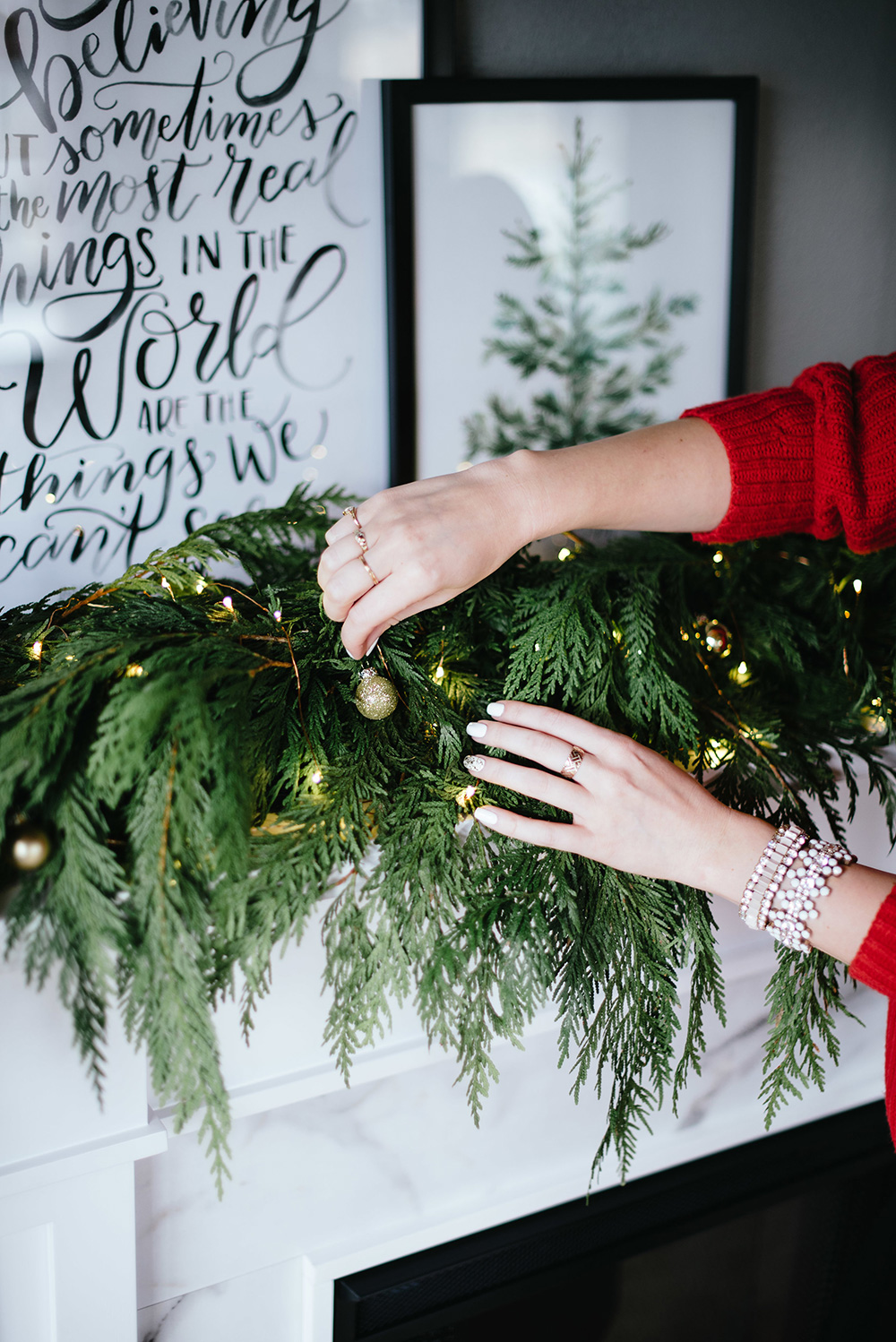 Beautiful Holiday Fireplace Styling By Krista Fredricks of Pike Petals using Lily & Val hand lettered prints