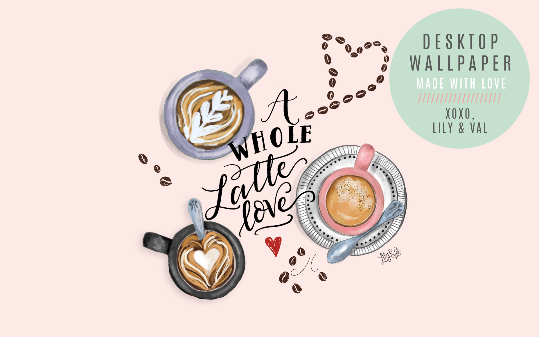 Hand Illustrated Coffee art for desktop wallpaper