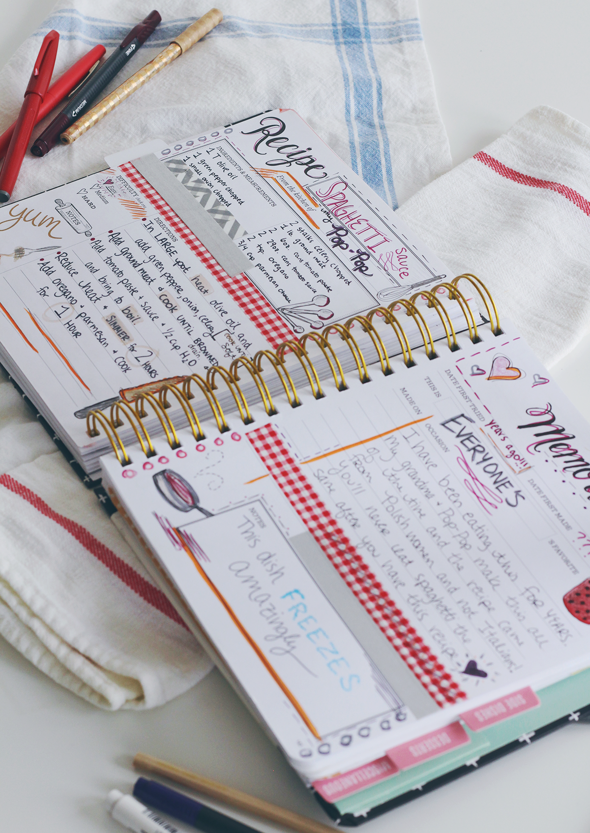 Use scrapbooking and planner supplies to add recipes and memories to the pages of your Keepsake Kitchen Diary