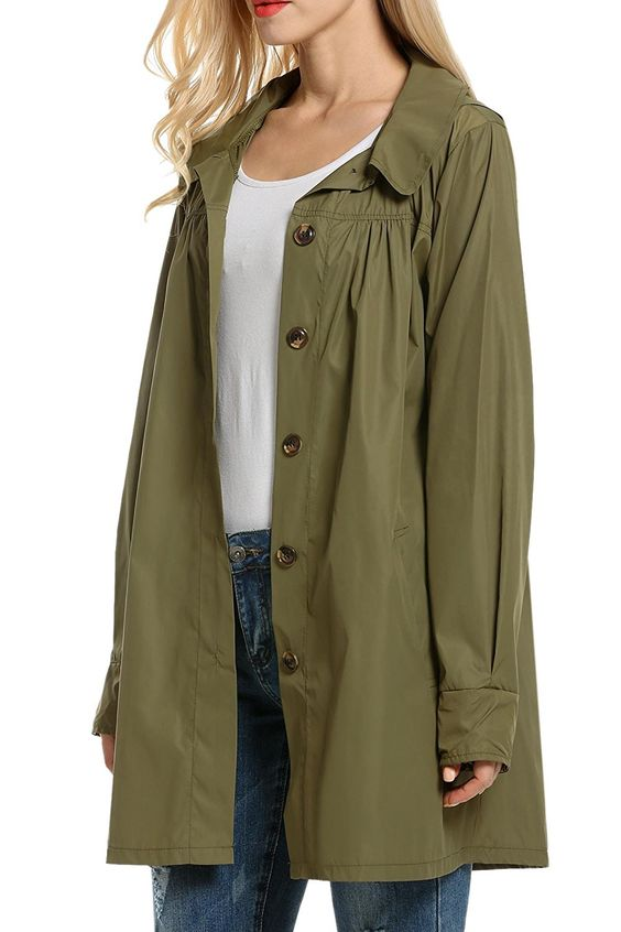 This trench has a beautiful olive color and feminine gathering details.