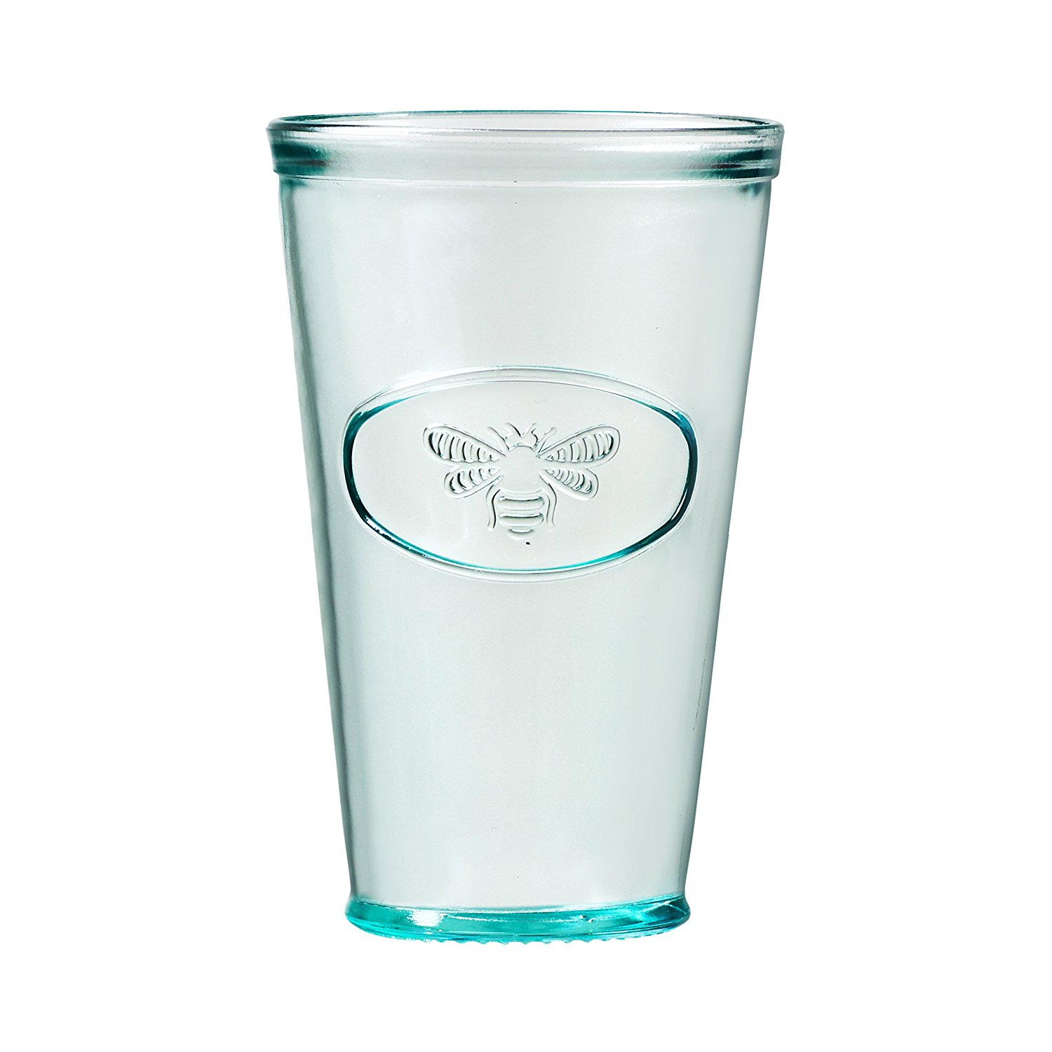 How cute is the little bee detail on this mint green glass?