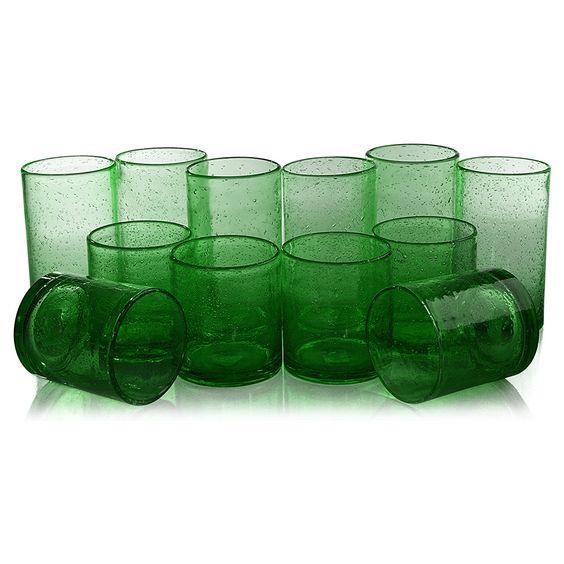 I love the vintage feel of these kelly green bubble glass highball tumblers.
