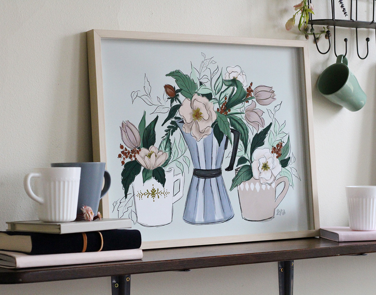 Coffee and Flowers Wall Art Print by Lily & Val