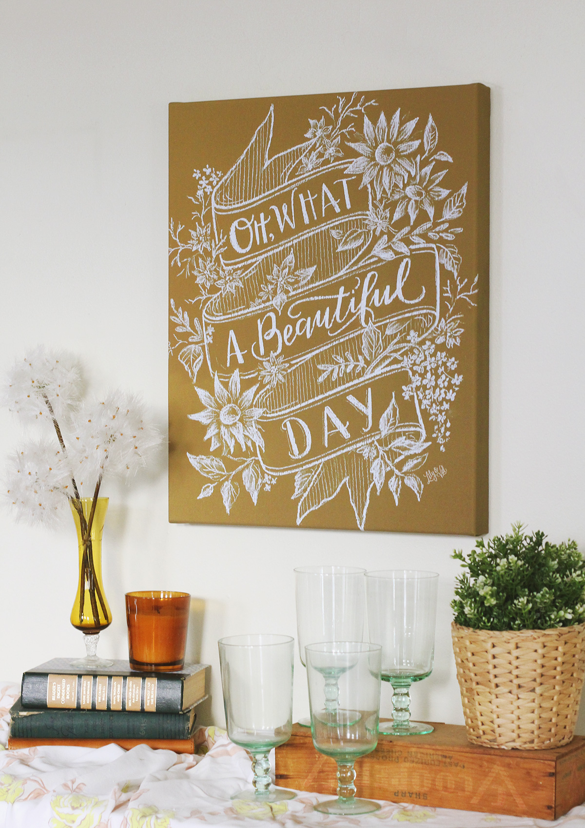 Oh What a Beautiful Day Mustard Chalkboard by Lily & Val