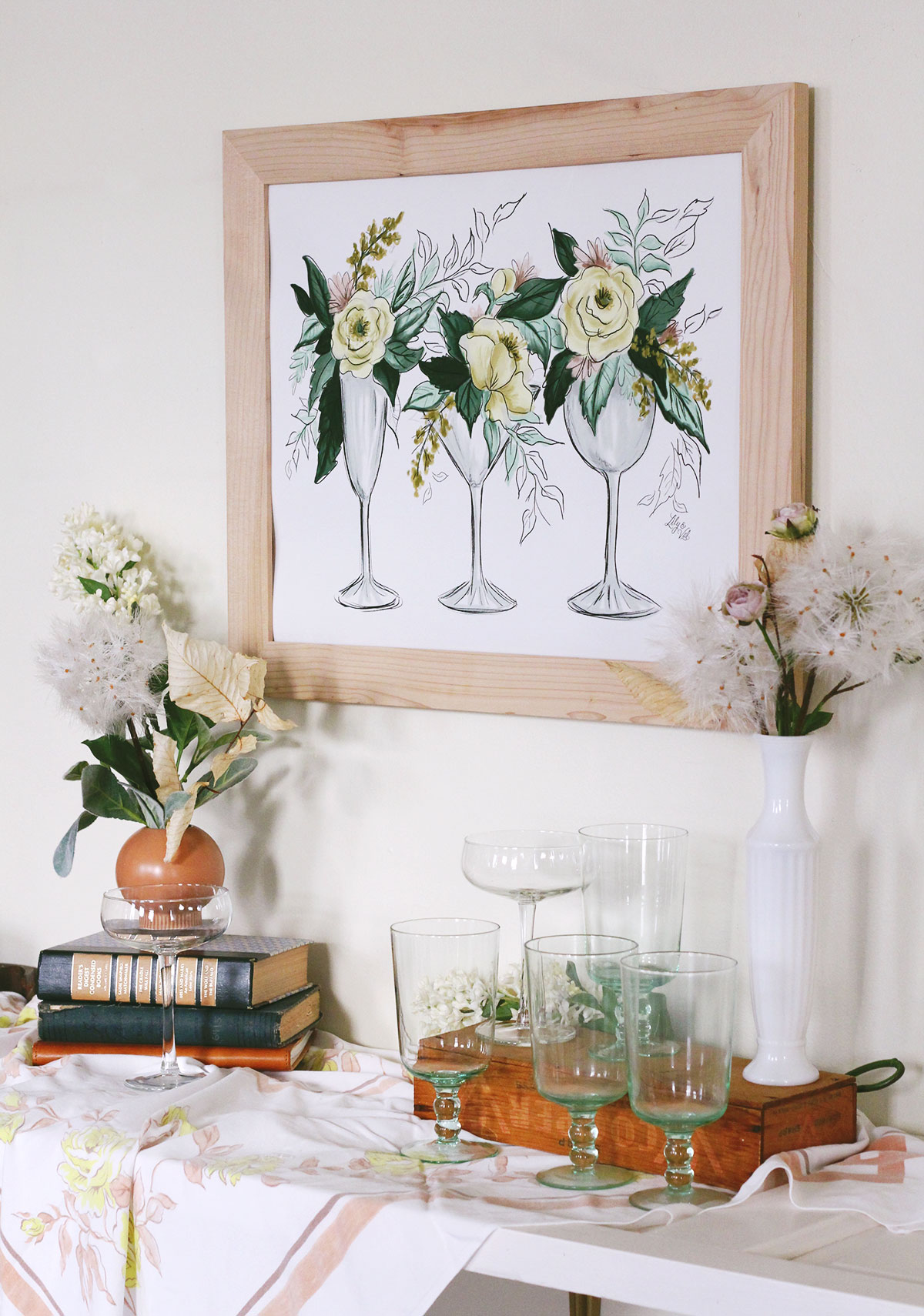 Cocktails and Flowers Wall Art Print by Lily & Val