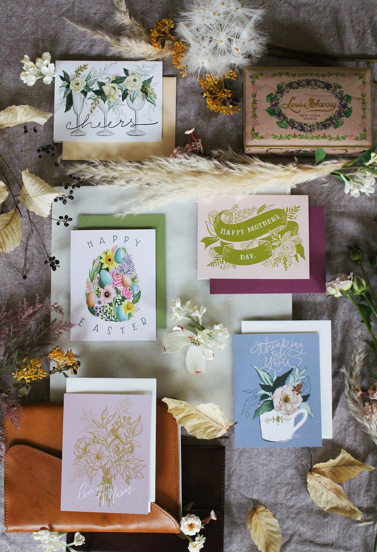 Spring cards as part of the Lily & Val Flora Collection