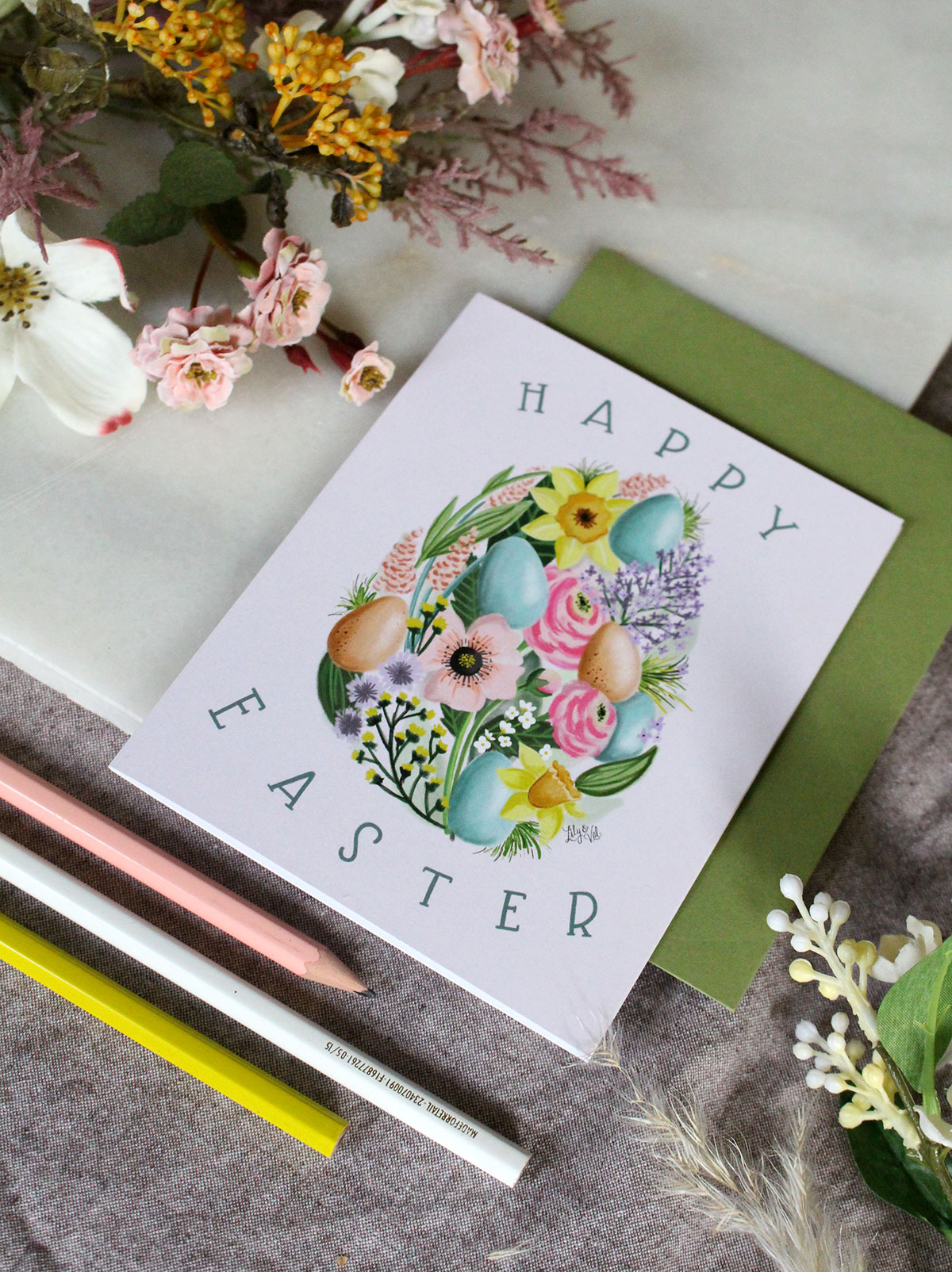 Happy Easter Card by Lily & Val