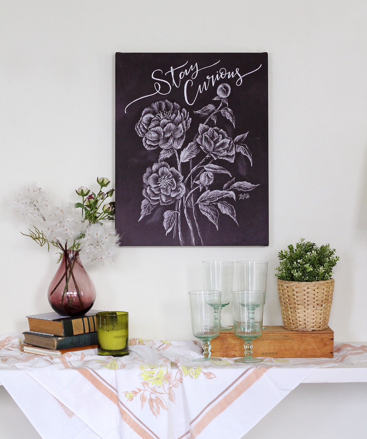 Stay Curious Deep Plum Chalkboard Art by Lily & Val