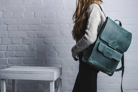 Beautiful emerald green chic backpack