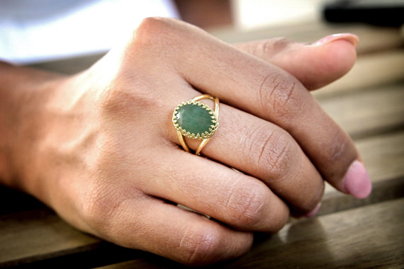 gold and jade ring handmade vintage style