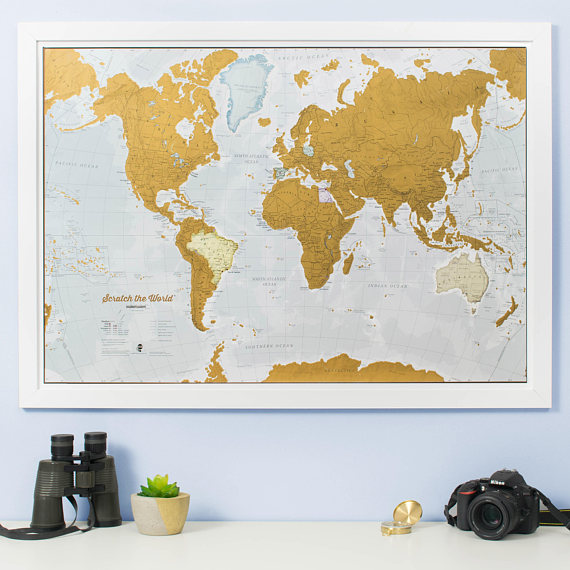 Gold Scratch off Map to document all your adventures.