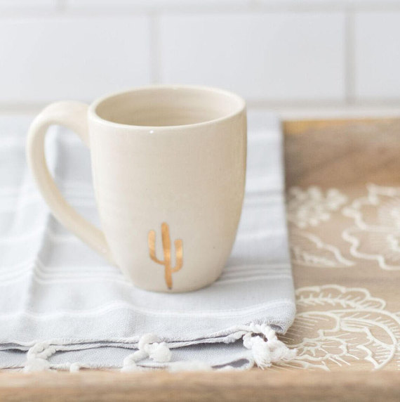 Beautiful Handmade Ceramic Cactus Mug