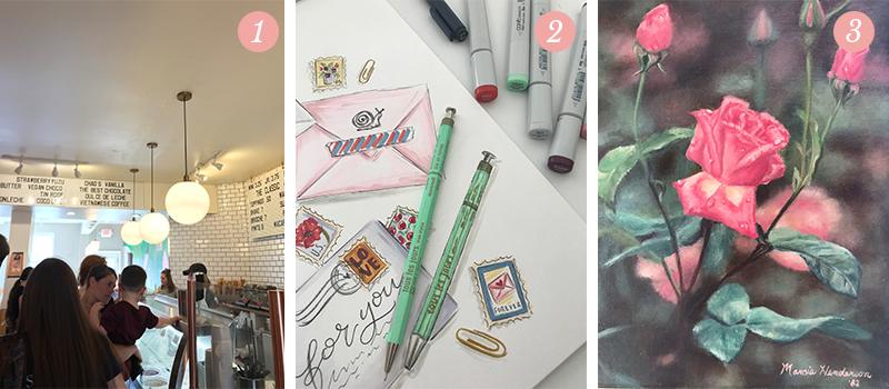 Lily & Val Presents: Pretty Ordinary Friday #92 with Millie's Homemade Ice Cream, inspirations mint green pens and vintage rose art by mom