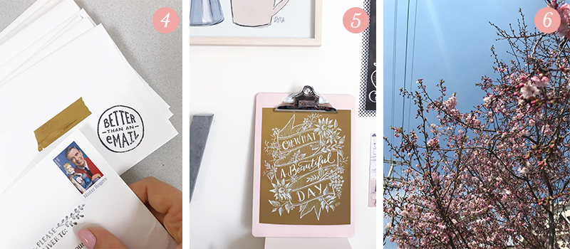 Lily & Val Presents: Pretty Ordinary Friday #92 with Mister Rogers stamps, blush and mustard decor inspiration and blooming cherry blossoms