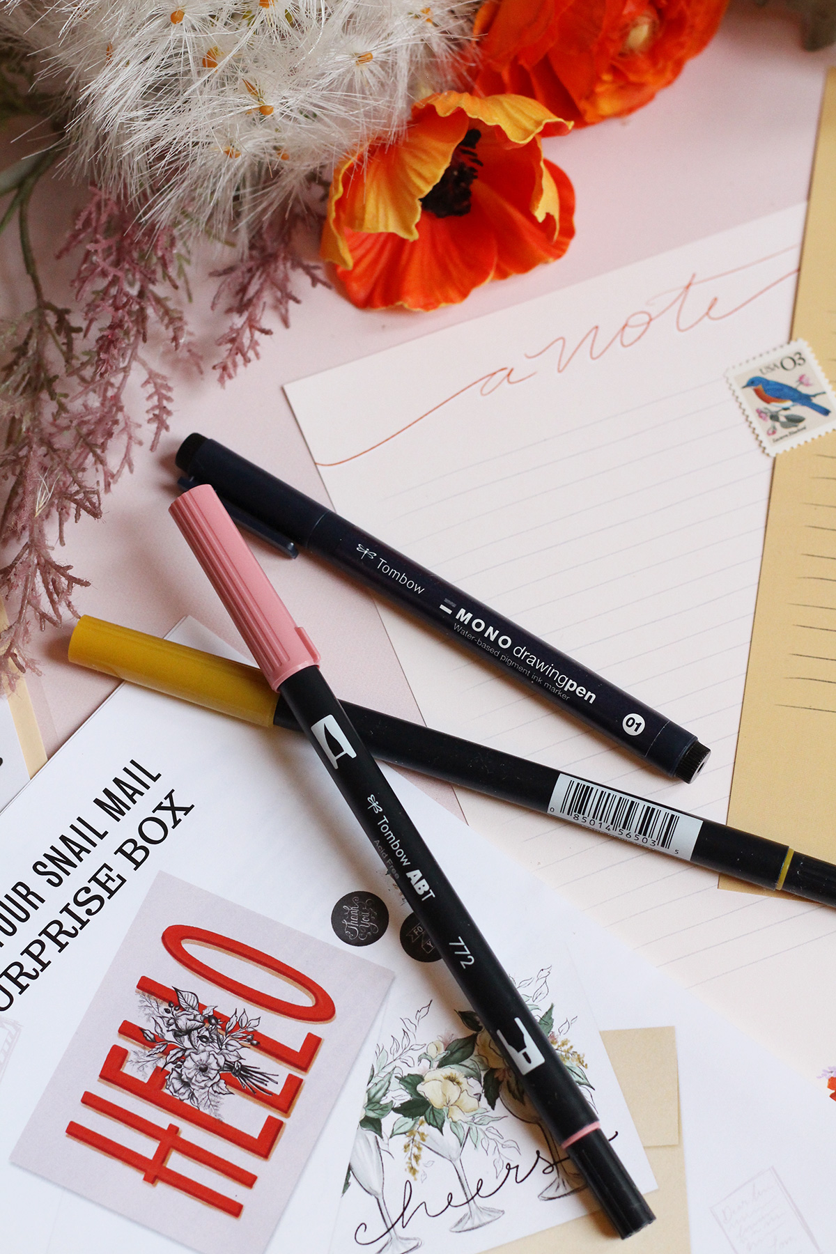 Tombow Dual Brus pens and mono drawing pen for addressing the prettiest envelopes