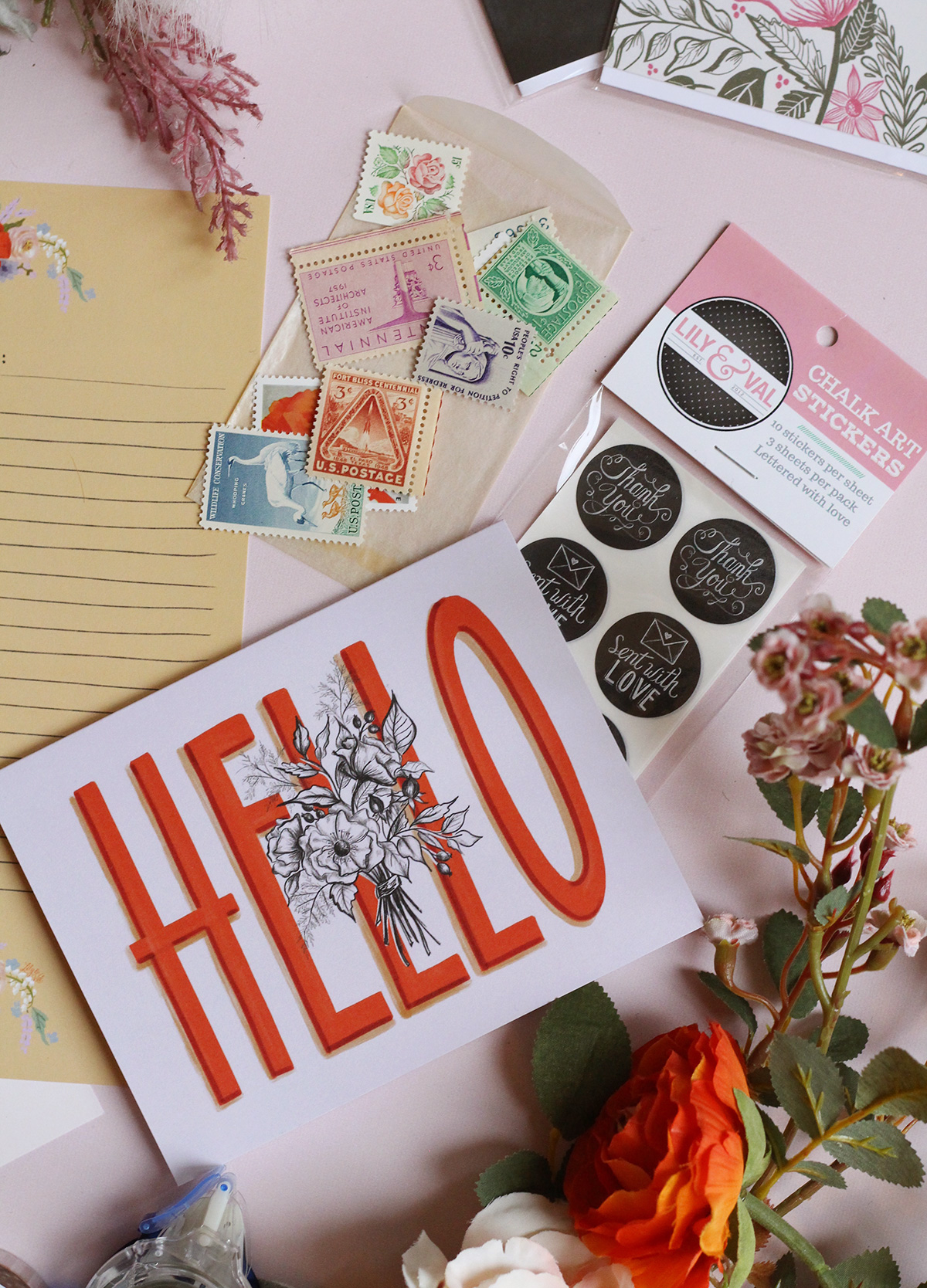 Lily & Val Exclusive Designed HELLO card for National Letter Writing Month