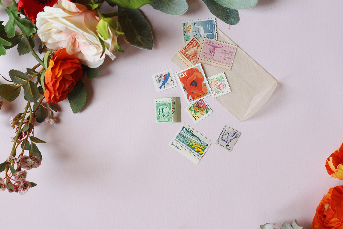 The unused, vintage stamps in the box have been custom picked and color-coordinated by Virginia of Verde Studio just for us!