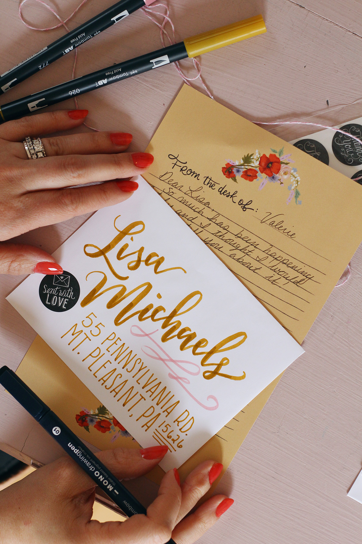 Brush lettered envelope inspiration using Tombow Dual Brush Pens