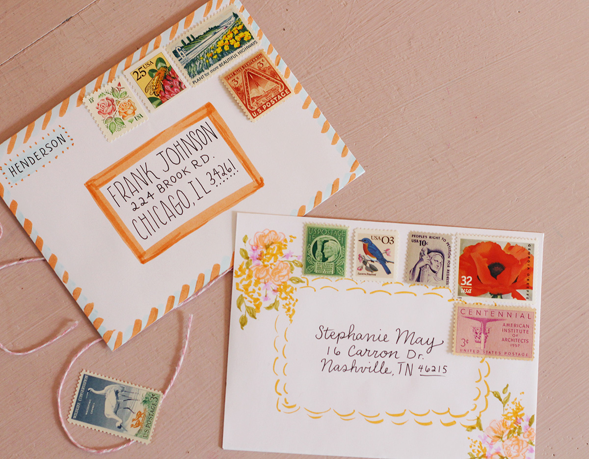 Vintage stamps add a beautiful touch to snail mail