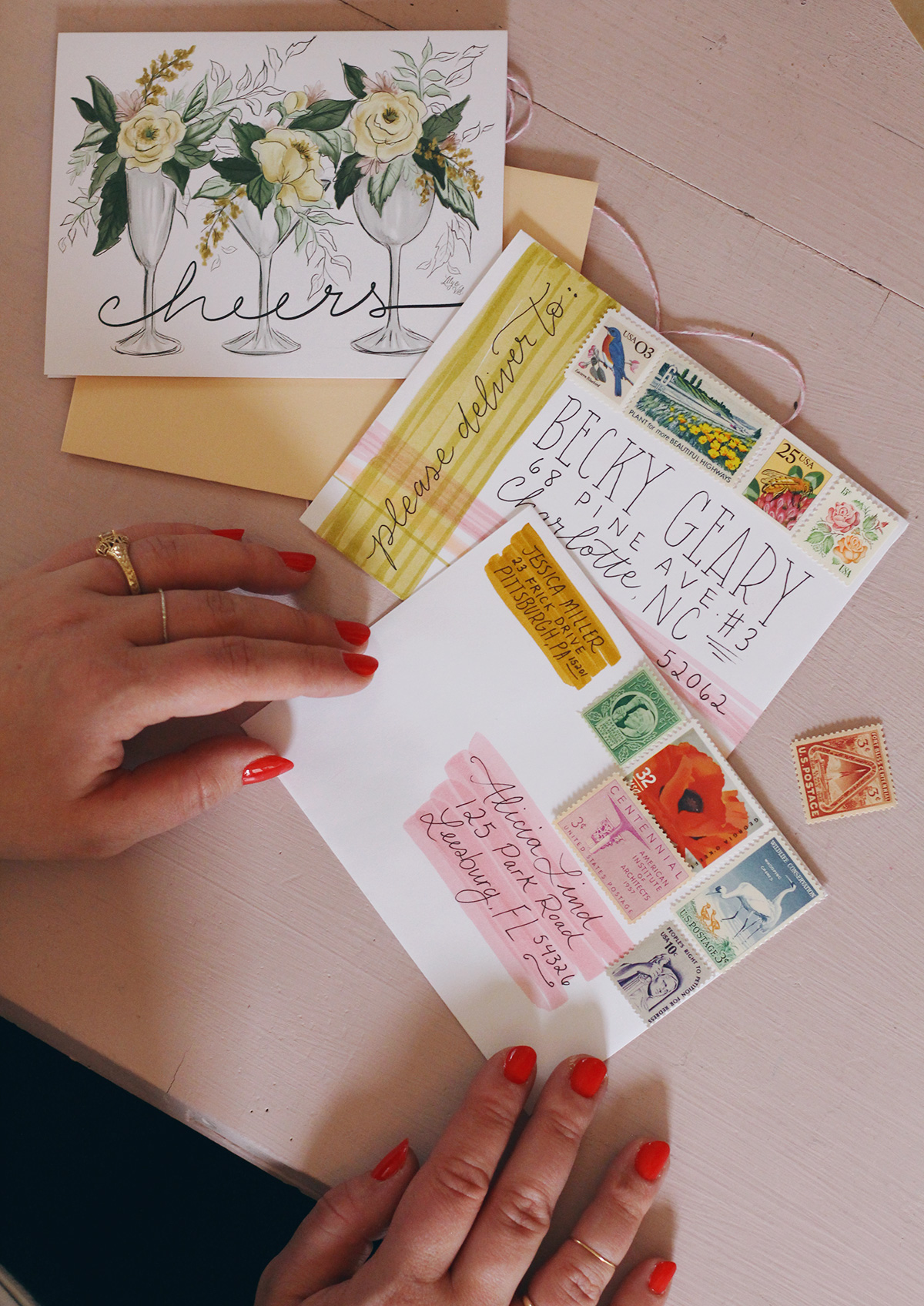 Vintage stamps add a beautiful touch to snail mail | Cheers card on lilyandval.com