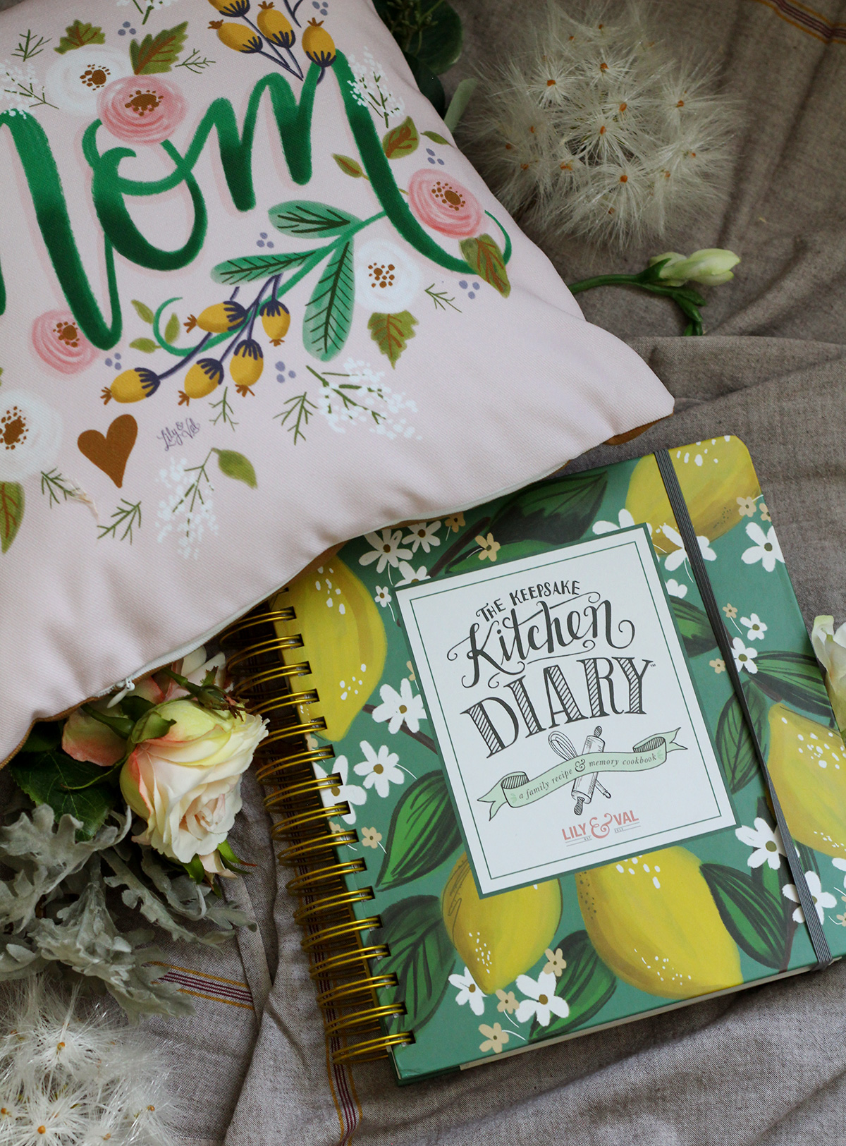 Limited Edition Handmade Pillows Are Here For Mother's Day + Keepsake Kitchen Diary and you have a beautiful gift for Mom