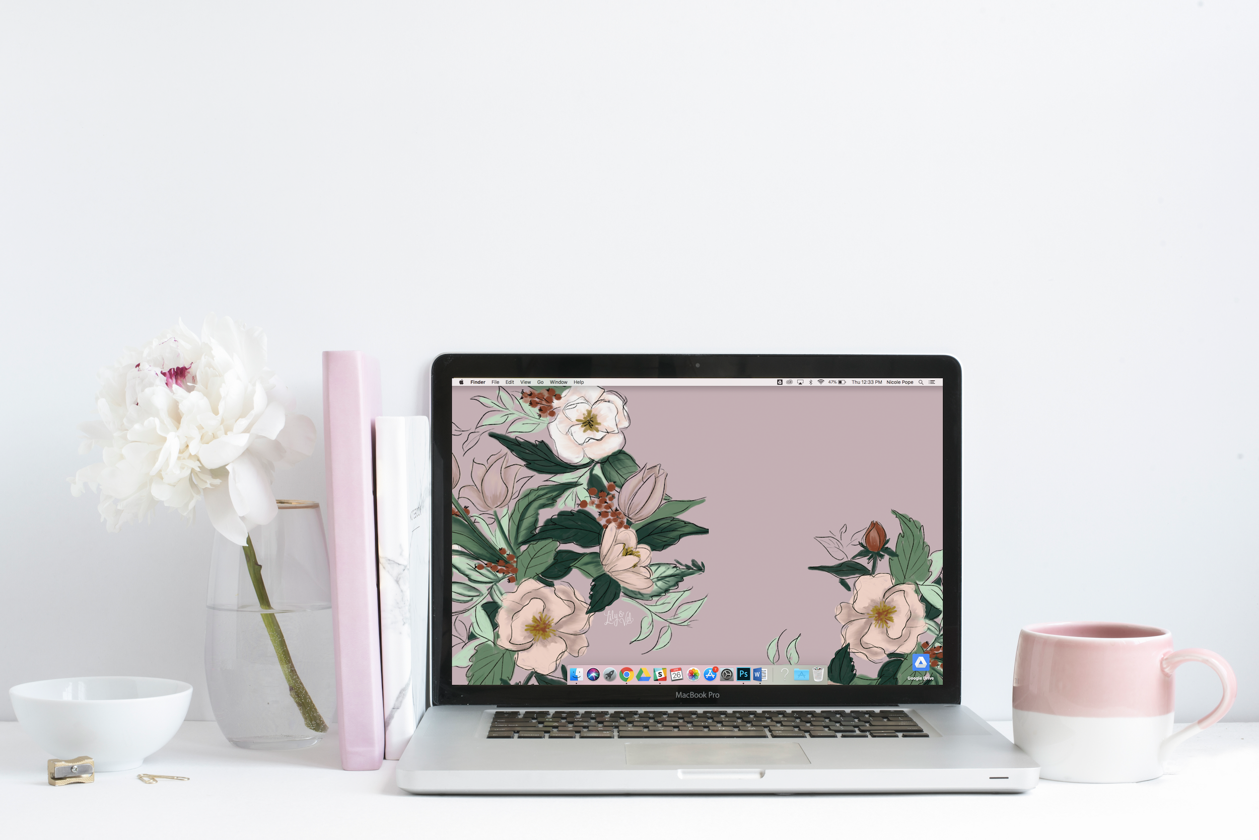 Lily & Val's Free May pink floral desktop wallpaper download