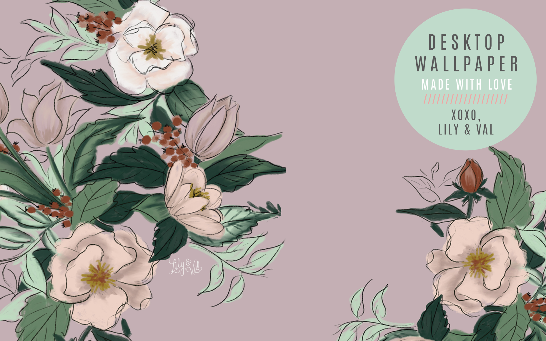 Lily & Val's Free May hand-drawn floral desktop background download