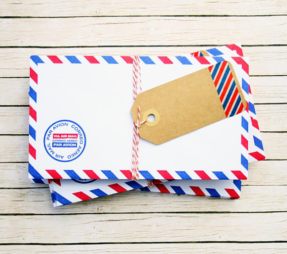 Adorable airmail envelope set for sending sweet notes and letters