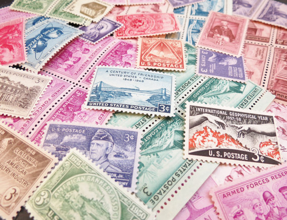 Add a little spice to your mail with this extra vintage postage. The surprise is in the beautiful variety of designs