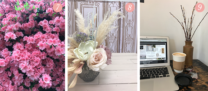 Lily & Val Presents: Pretty Ordinary Friday #93 with pretty pink Azaleas, feathers and faux flower centerpiece design and Ace Hotel workspace