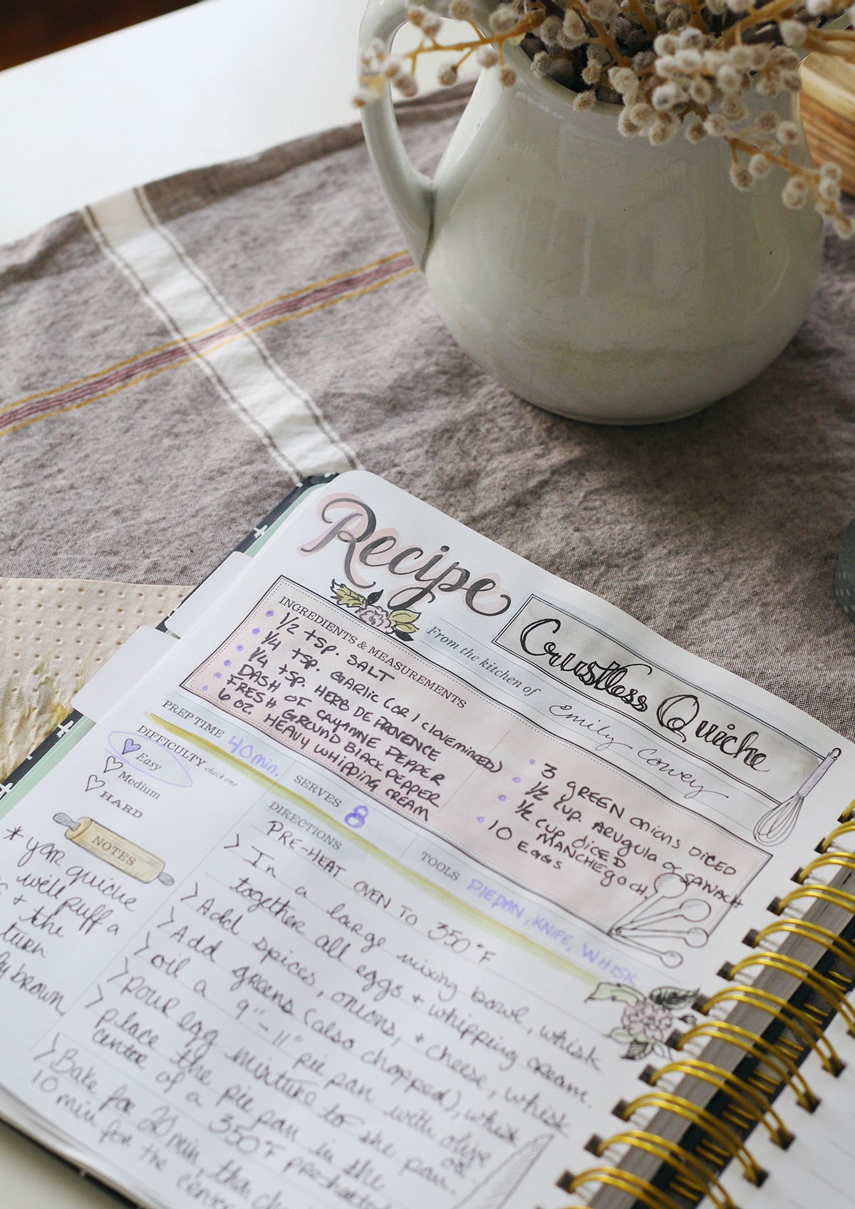 Crustless Quiche Recipe Crafted & Hand-Written in The Keepsake Kitchen Diary - a Family Cookbook & Memory Keeper