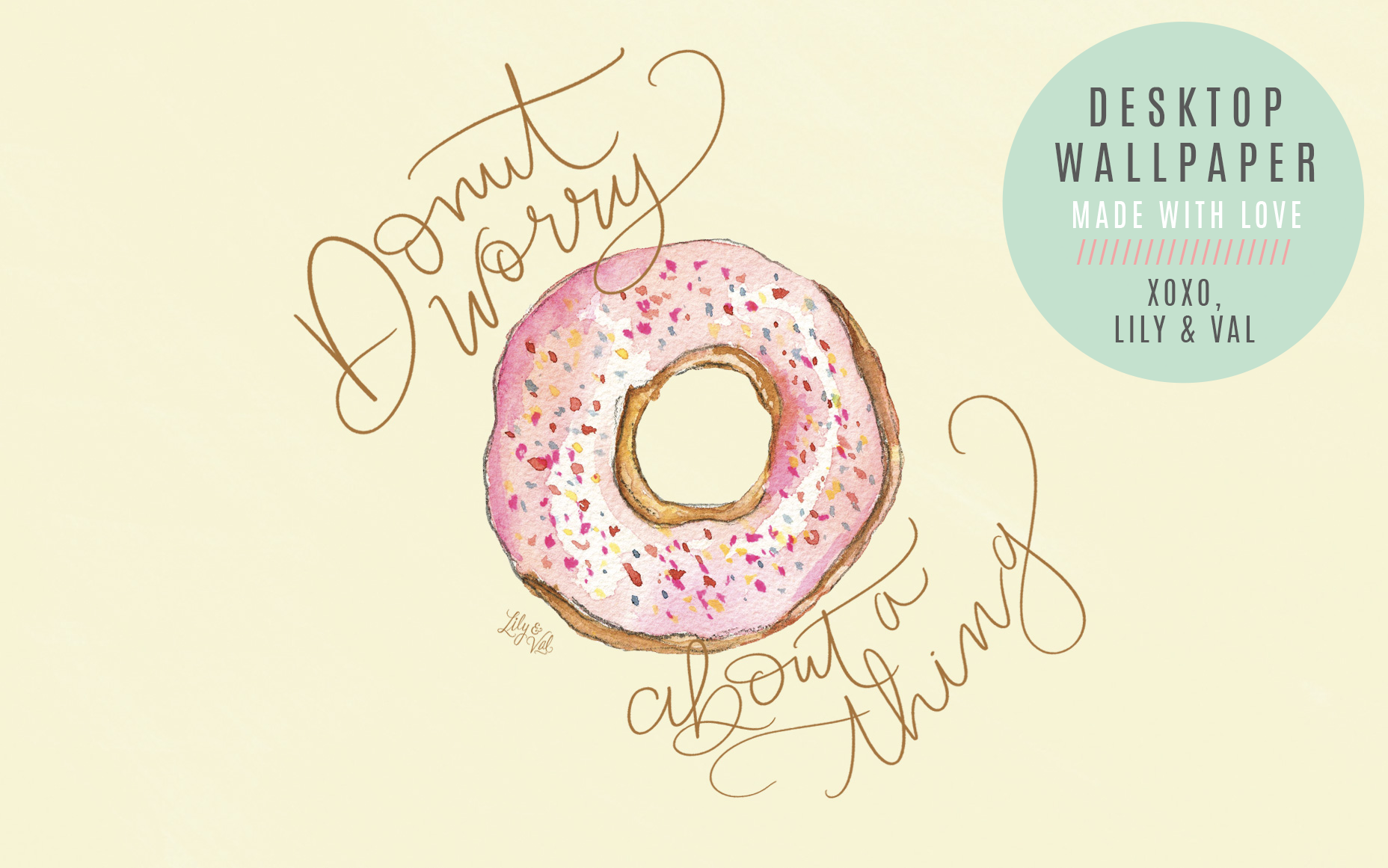 Donut Worry About A Thing hand-drawn, hand-lettered computer background download