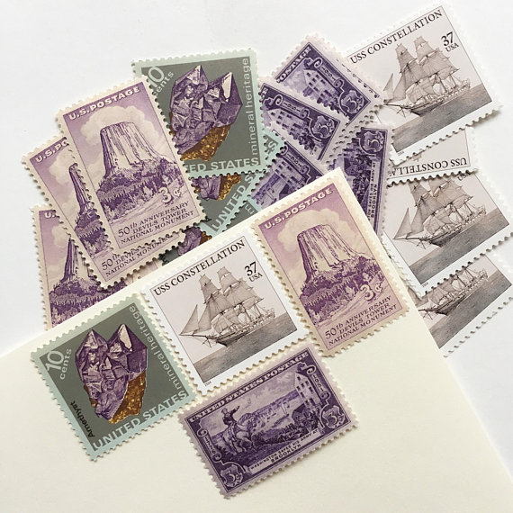Curated Lavender Vintage Postage Sets